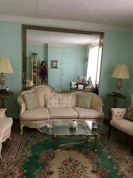 Antique Living Room Set Couch,love Seat, Arm Chair, 2 Marble And Gold End Tables