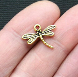 12 Dragonfly Charms Antique Gold Tone - Gc229
