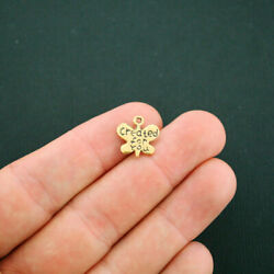 12 Created for you Butterfly Charms Antique Gold Tone 2 Sided GC841