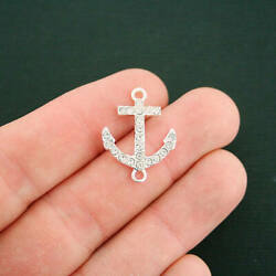 4 Anchor Connector Silver Charms Silver Tone With Rhinestones SC6462 NEW5