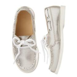 NWT Gymboree Shore to Love Girls Metallic Silver Boat Shoes 10 11 12 13 1 2