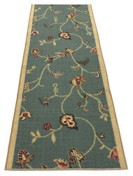 Custom Size Runner Rug Floral Teal Blue Non Skid Customize Rug Runners 26 Width