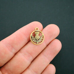 16 Thistle Charms Antique Gold Tone 2 Sided Scottish Thistle - Gc843