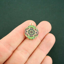 4 Mandala Charms Antique Gold Tone With Glass - Gorgeous Colors - Gc1176