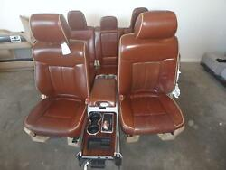 12-14 FORD F150 FRONT REAR SEAT CONSOLE TAN LEATHER KING RANCH POWER HEAT