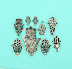 Hamsa Hand Charm Collection Antique Silver Tone 9 Charms - Col134