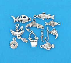 Fishing Charm Collection Antique Silver Tone 11 Different Charms - Col095