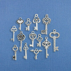 Key Charm Collection Antique Silver Tone 13 Different Charms Small Size - Col236