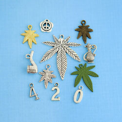 Marijuana 420 Charm Collection Antique Silver Gold Tone 12 Charms - Col302