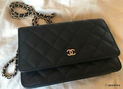 BNIB CHANEL Newest Wallet on a Chain (WoC) Style: Caviar wCHANEL Logo Embossed