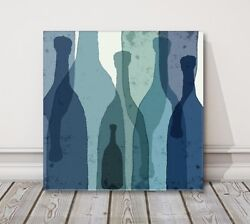 Blue Wine Bottles Watercolor Kitchen Modern Printed Framed Canvas Picture
