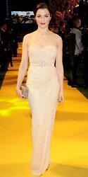 MICHAEL KORS COLLECTION Nude Sheer Lace Bustier Dress Gown  2  4