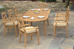Granada Grade-a Teak 7pc Dining 94 Oval Table 6 Stacking Arm Chair Set New