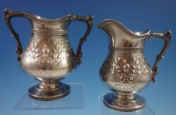 Duhme And Co. Sterling Silver Sugar And Creamer Set 2pc Repoussed Chased 1916