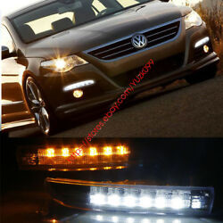 For 2009-2012 Vw Passat Cc Led Drl Light With Fog Lamp Cover+yellow Turn Signal
