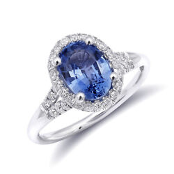 14k White Gold 1.99ct Tgw Natural Blue Sapphire And Diamond Engagement Ring