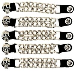 5 Skull Double Motorcycle Biker Mc Club Chain Vest Extenders Made In Usa