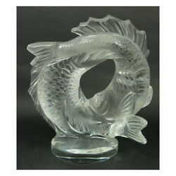 Genuine Lalique Clear Crystal Double Fish Sculpture 10571800 Free Delivery