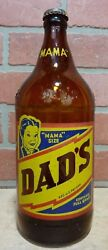 Orig Old Dad's Root Beer Brown Soda Bottle W Cap Mama Qt Size Acl Harrisburg Pa