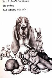 Boswell BASSET HOUND with BUNNY RABBIT FRIENDS 1958 Vintage Dog Print Matted