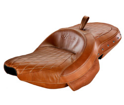 Indian Motorcycle Tan Studded Heated Extended Reach Seat For 2014-2020 Chief