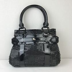 Women's Burberry Rachel Studded Black Patent Leather Tote MSRP $2500