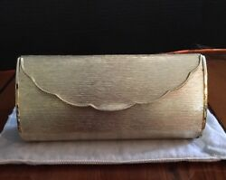 Gold Clutch Purse Hard Case with Dust Bag and Box Classic Elegance