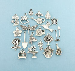 Gardening Charm Deluxe Collection Antique Silver Tone 22 Charms - Col292