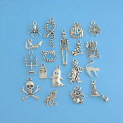 Halloween Charm Collection Deluxe Antique Silver Tone 18 Charms COL088