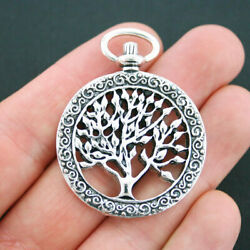Large Tree of Life Charm Pendant Antique Silver Tone Stunning 2 Sided SC551