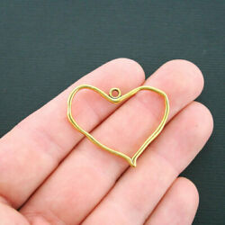 Bulk 40 Heart Charms Antique Gold Tone 2 Sided- Gc438