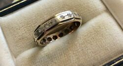 Lovely Ladies Early Vintage Stamped ( 2 Colour Gold ) 9 Carat Eternity Band Ring