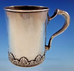Whiting Sterling Silver Baby Childand039s Cup Mug Applied Shell Border 3 3/4 Tall