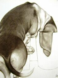 Boswell SELF-IMPROVEMENT - CURIOUS BASSET HOUND Dog Print 1958 Matted