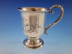 Tifft And Whiting Coin Silver Baby Childand039s Cup Mug Footed B.c. W/ Shield And Scroll
