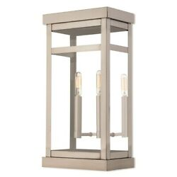 Livex Hopewell 2 Light Outdoor Wall Lantern In Brushed Nickel, 9.25w X 18h - 2