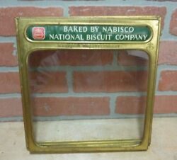 Old Brass Nabisco Biscuit Company Advertising Store Display Box Hinged Topper