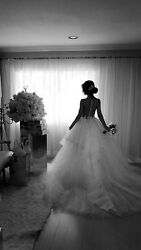 Wedding dress Ines di Santo Style Souffle Ivory with White Tulle Open back