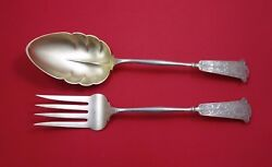 Arabesque By Wendt Sterling Silver Salad Serving Set 2pc Gw Frosted W/crown Mono