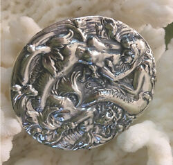 Art Nouveau Sterling Antique Reproduction Mermaids Belt Buckle, Made To Order