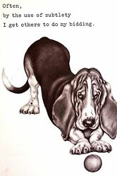 Boswell BASSET HOUND Gets Other to Do His Bidding 1958 Vintage Dog Print Matted