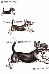 Boswell BASSET HOUND Swiftly Comes to Conclusion 1958 Vintage Dog Print Matted