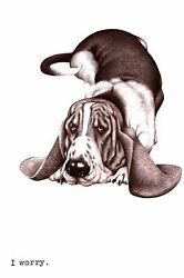 Boswell BASSET HOUND Looks WORRIED  -  I Worry -  1958 Vintage Dog Print Matted