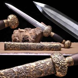 New Boutique Chinese Short Sword Dagger 武則天劍 Pattern Steel Full Copper Fitting