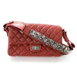 Chanel Red Leather Stingray Strap Flap bag
