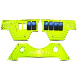 USA Made Billet 3pc Dash Panel & Rocker Switches Polaris RZR S 900 Lime Squeeze