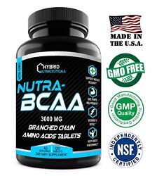 Nutra Bcaa 3000mg Tablets, Pre And Post Workout, Non-gmo, Best Amino Acids