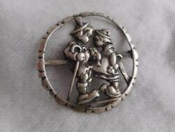 Rare Vintage 1950s Sterling Silver Boy And Girl Hummel Pin