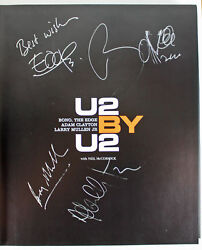U2 4 Bono, Edge, Mullen And Clayton Signed Hard Cover Autobiography Bas A09577