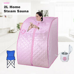 2L Home Steam Sauna Spa Full Body Slimming Loss Weight Detox Indoor Therapy Pink